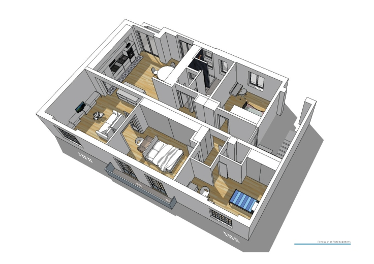 C_Aménagement d'un appartement_axonométrie