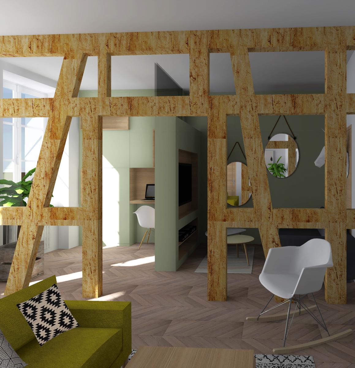 v2 vue de la salle a manger vers le salon tv et le bureau avec deco studio fdmd. Black Bedroom Furniture Sets. Home Design Ideas