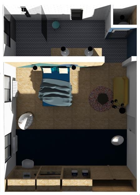 Vue de dessus/chambre d'hôtel/OSB